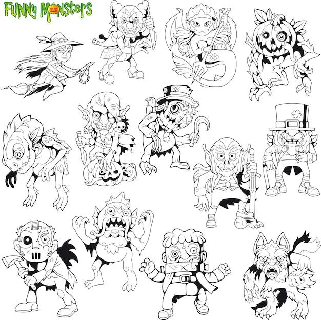 Ensemble de monstres de dessin animé