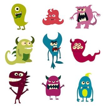 Ensemble de monstres doodle