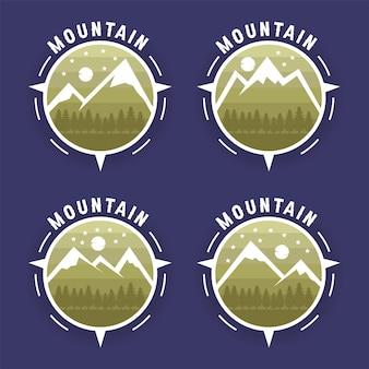 Ensemble de montagne de logo avec l'arbre de forêt de pin