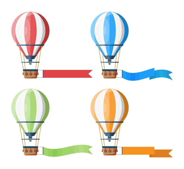 Ensemble de montgolfières colorées