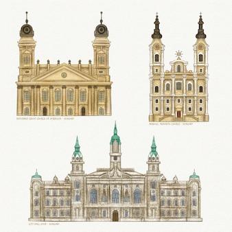 Ensemble de monuments architecturaux célèbres aquarelle