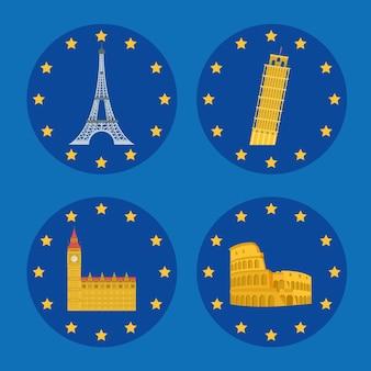 Ensemble de monuments de l'europe