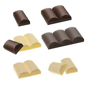 Ensemble de morceaux de chocolat, chocolat au lait, chocolat blanc