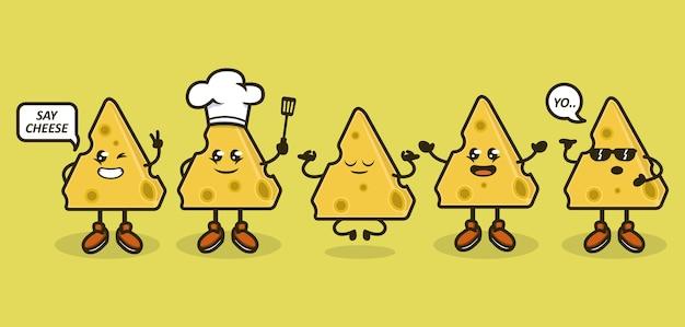 Ensemble de morceaux de fromage mignon