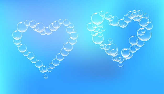 Ensemble de morceaux de mousse de savon en forme de coeur vecteur mousse de savon réaliste symbole de la saint-valentin fond bleu