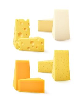 Ensemble de morceaux triangulaires de différents types de fromage cheddar suisse bri camembert close up isolé sur fond blanc