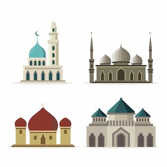 Ensemble de mosquée design plat