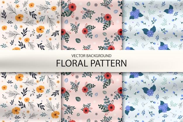 Ensemble de motif abstrait avec des feuilles et des fleurs