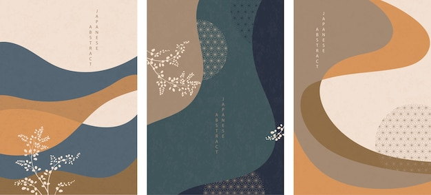 Ensemble de motif abstrait japonais oriental