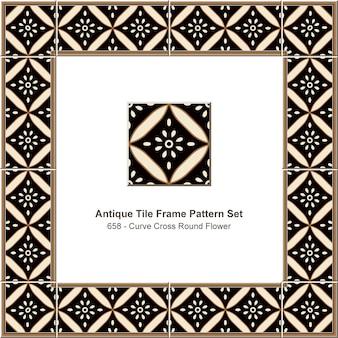 Ensemble de motif de cadre de tuile antique courbe croix fleur ronde, décoration en céramique.