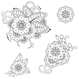 Ensemble de motif de fleurs mehndi pour le dessin au henné. décoration dans un style indien oriental ethnique.