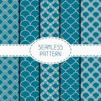 Ensemble de motif géométrique japonais bleu sans soudure