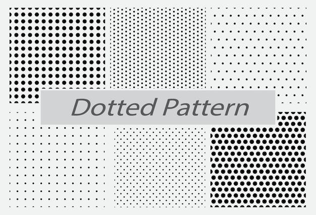 Ensemble de motif harmonieux en pointillés ou motif de points en demi-teinte harmonieux ou dégradé de points lisses