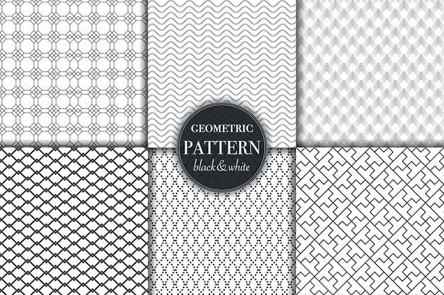 Ensemble de motif de lignes géométriques et abstraites en noir et blanc