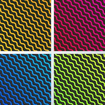 Ensemble de motif de lignes de vagues diagonales