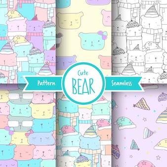 Ensemble de motif ours mignon sans couture de couleur pastel