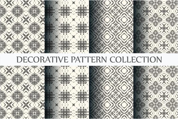 Ensemble de motifs abstraits. modèles sans couture noir et blanc