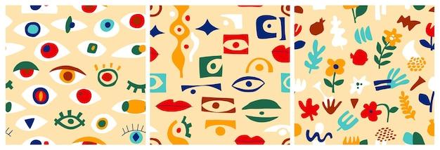 Ensemble de motifs abstraits pour les yeux, formes géométriques dans un style contemporain. modèle sans couture grec de vecteur avec look, yeux dans un style de collage moderne. fond de formes abstraites. collection colorée dessinée à la main