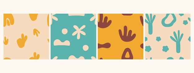 Ensemble de motifs abstraits sans soudure dessin à la main doodle tendance éléments répétitifs