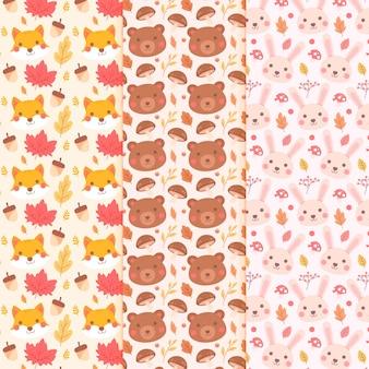 Ensemble de motifs d'automne design plat