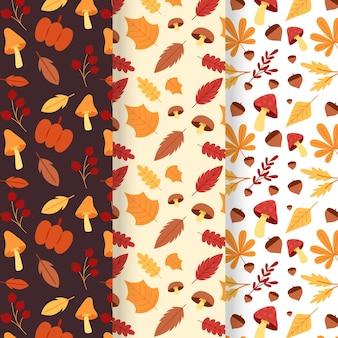 Ensemble de motifs automne design plat