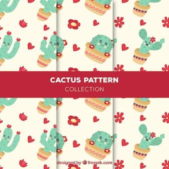 Ensemble de motifs avec des cactus charmants