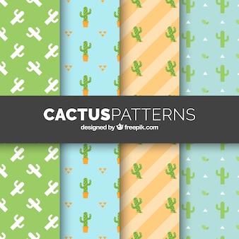 Ensemble de motifs de cactus en couleurs douces