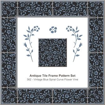 Ensemble de motifs de cadre de carreaux anciens_362 vintage blue spiral curve flower vine