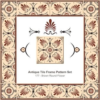 Ensemble de motifs de cadre de carreaux anciens botanic garden brown round flower