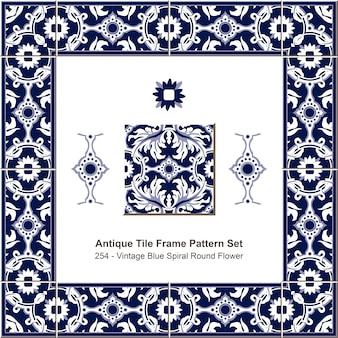 Ensemble de motifs de cadre de carreaux anciens botanic garden vintage blue spiral round flower