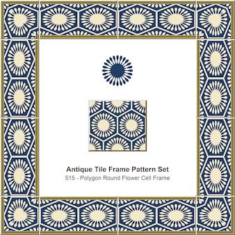 Ensemble de motifs de cadre de carreaux anciens cadre de cellule de fleur ronde polygone