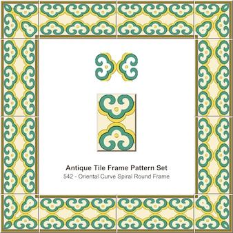 Ensemble de motifs de cadre de carreaux anciens cadre rond en spirale courbe orientale
