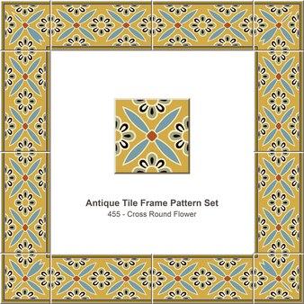 Ensemble de motifs de cadre de carreaux anciens croix ronde fleur