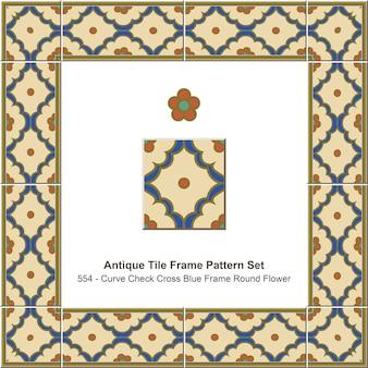 Ensemble de motifs de cadre de carreaux anciens curve check cross blue frame round flower