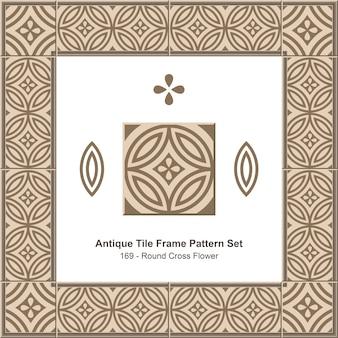 Ensemble de motifs de cadre de carreaux anciens, fleur de croix ronde marron