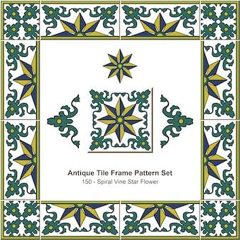 Ensemble de motifs de cadre de carreaux anciens, fleur d'étoile de vigne en spirale de jardin botanique