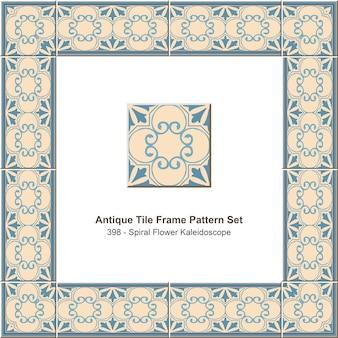 Ensemble de motifs de cadre de carreaux anciens kaléidoscope de fleurs en spirale