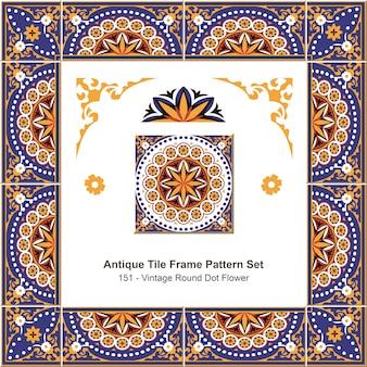 Ensemble de motifs de cadre de carreaux anciens royal vintage round dot flower