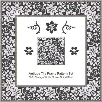 Ensemble de motifs de cadre de carreaux anciens tige en spirale de fleur blanche vintage