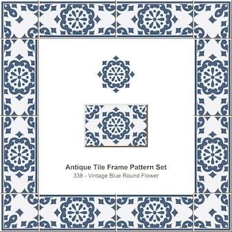 Ensemble de motifs de cadre de carreaux anciens vintage blue round flower