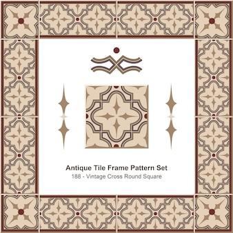 Ensemble de motifs de cadre de carreaux anciens vintage brown cross round square