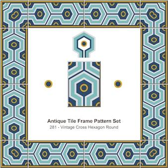 Ensemble de motifs de cadre de carreaux anciens vintage cross hexagon round