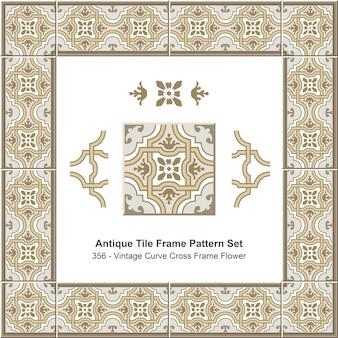 Ensemble de motifs de cadre de carreaux anciens vintage curve cross frame flower