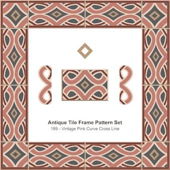 Ensemble de motifs de cadre de carreaux anciens vintage pink curve cross line