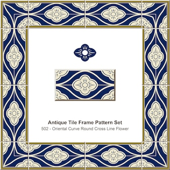 Ensemble de motifs de cadre de carreaux antiques courbe orientale ronde croix ligne fleur