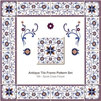 Ensemble de motifs de cadre de carreaux antiques vigne de fleur de croix en spirale botanique