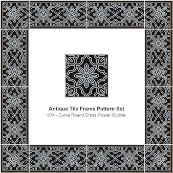 Ensemble de motifs de cadre de tuile antique courbe ronde contour de fleur croisée, décoration en céramique.