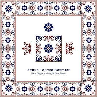 Ensemble de motifs de cadre de tuile antique élégante fleur bleue