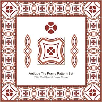Ensemble de motifs de cadre de tuiles anciennes fleur de croix ronde rouge