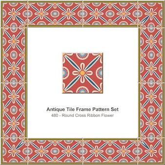 Ensemble de motifs de cadre de tuiles anciennes fleur de ruban croix ronde